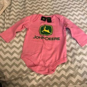 NWOT Pink John Deere long sleeve bodysuit